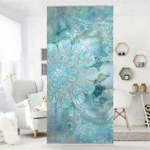 Raumteiler - Winterblumen 250x120cm, Aufhängung:inkl. transparenter Halterung