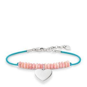 THOMAS SABO Festival LOVE BRIDGE Armband mit gravierbarem Herzen aus 925er Sterlingsilber in Kombination mit türkisfarbenem Bändchen und behandelter, facettierter pinkfarbener Bambuskoralle L19,5v