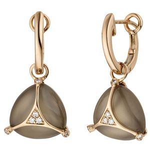 JOBO Creolen 585 Gold Rotgold 2 Mondstein Cabochons 12 Diamanten Brillanten Ohrringe