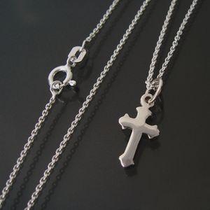 Kreuzkette Kette 925 Silber Ankerkette 38cm Anhänger Kreuz 25115-38