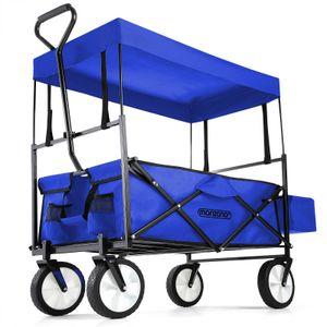 Bollerwagen Handwagen Transportwagen mit Dach Vollgummireifen Sonnendach Netztaschen Außentasche, Farbe:blau
