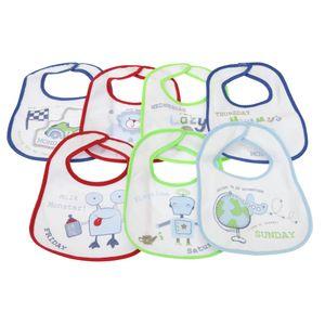 Baby 7 Wochentage Lätzchen für Jungen und Mädchen, 7 Stück BABY806 (0-6 Monate) (Blau)