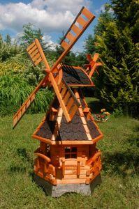Norddeutsche Windmühle mit Solar Beleuchtung 1,25m kugelgelagert, Farbe:Dunkel