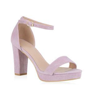 Mytrendshoe Damen Riemchensandaletten Plateau Sandaletten Party Schuhe Elegant 824638, Farbe: Hellila, Größe: 37