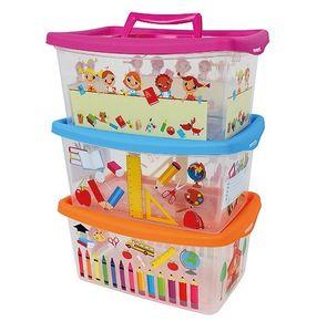 Aufbewahrungsbox für Kinder transparent mit Deckel und Handgriff 4 Liter