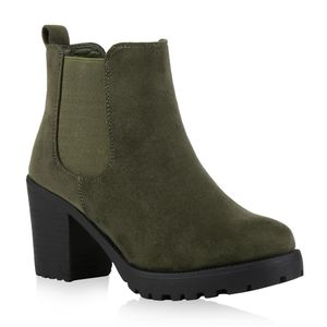 Mytrendshoe Damen Stiefeletten Chelsea Boots Profil Sohle 76976, Farbe: Grün, Größe: 39