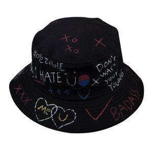 Mode Graffiti Faltbare Fischerhut Fischerhüte Bucket Hat Baumwolle Anglerhut Einheitsgröße Schwarz Brief Eimer Hüte