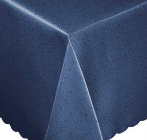 Tischdecke 130x220 cm blau dunkel eckig Mitteldecke Punkte bügelfrei fleckenabweisend