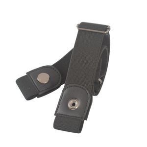 Schnallenfreier elastischer Frauen-Männer-unsichtbarer Gürtel für Jeans No Bulge Hassle,Farbe:Schwarz