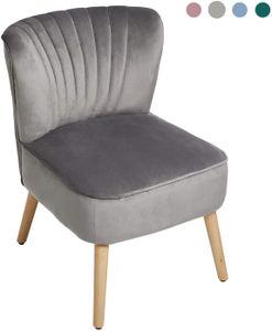 Laxllent Stuhl Samt Grau Sessel Polsterstuhl 57x68x76CM,mit Holzfüß Weich Gepolstert Stuhl für Esszimmer Wohnzimmer Salon