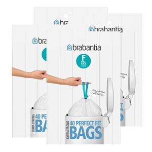 Brabantia Müllbeutel Spenderverpackung (F) 20 Liter, 40 Mülltüten (4er Pack)