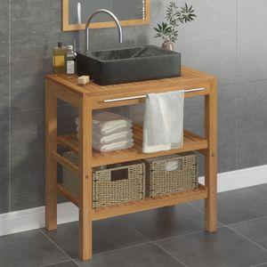 Badezimmer-Unterschrank Waschtisch Massivholz Teak mit Waschbecken Marmor Schwarz