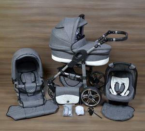 LUXUS Kombi Kinderwagen   BABY SMILE  3in1 Babyschale Autositz Babywanne Sportsitz 18