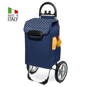 Einkaufstrolley KILEY XXL Blau gepunktet mit 78l Fassung & Seitentaschen - Extragroße, leise & abnehmbare Gummiräder