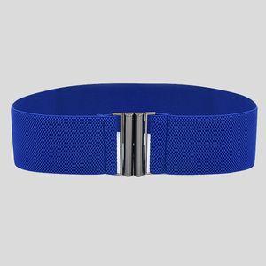 Mode Dame breite Gürtel Frauen breite elastische Gürtelschnalle Taille Kleid Stretch Größe:,Farbe:Blau