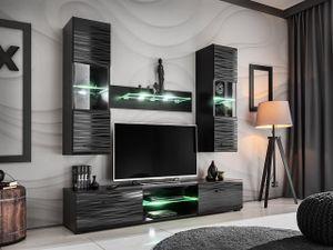 Mirjan24 Wohnwand Blade Mini mit LED-Beleuchtung, Stilvoll Wohnzimmer-Set (Schwarz / Sahara Hochglanz)