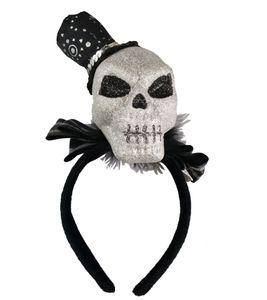 Halloween Haarreif mit silbernen Totenkopf und Silvester Zylinder Hut