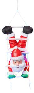 Weihnachtsmann kopfüber auf Strickleiter, die Leiter ist mit 30 bunten LEDs beleuchtet, kletternder Nikolaus für Innen- und Außen (traditionell - kopfüber)
