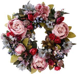 Künstliche Türkranz Deko Kranz Dekorative Blumenkranz Wandkranz Für Frühling Sommer Alle Jahreszeiten Wanddekoration Hochzeitsfeier Festival Dekor