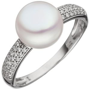 JOBO Damen Ring 58mm 333 Gold Weißgold 1 Süßwasser Perle 36 Zirkonia Perlenring Goldring