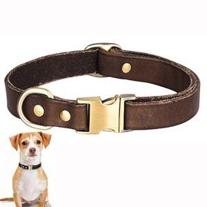 Hundehalsband Leder Haustier Welpen Verstellbar Halsband für Kleine Große Hund, S(26-42cm), Braun