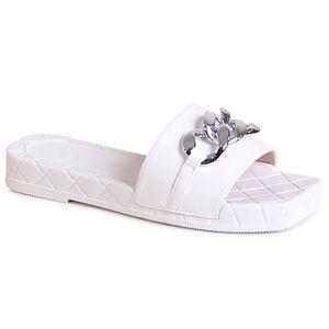 topschuhe24 2119 Damen Plateau Sandalen Eckige Pantoletten Ketten, Farbe:Weiß, Größe:37 EU