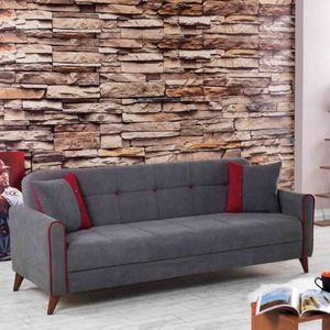 CasaDolce Sofa ALIANA, 216x90x86 cm, Grau, mit dekorative Kissen, mit Bettfunktion