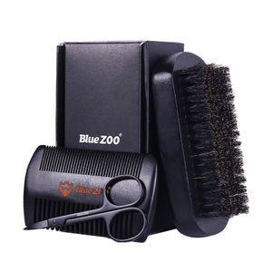 1 Stück Bartbürste,1 Stück Holzkamm,1 Stück Edelstahlschere Farbe Schwarz