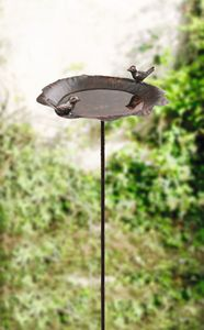Vogeltränke Rostoptik, Maße Schale Ø ca. 26 cm, GH 110 cm