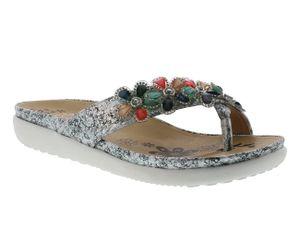 rieker Damen Zehentrenner Grau Schuhe, Größe:38