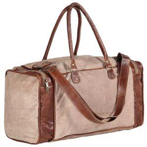 vidaXL Weekender-Tasche Braun 54x23x52 cm Segeltuch und Echtleder