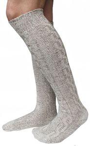 LANGE Trachtensocken Trachtenstrümpfe Zopf Socken 70cm Meliert, Größe:44-46