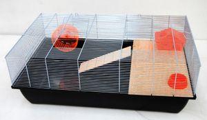 Mäusekäfig Hamsterkäfig Nagerkäfig 78x47x30cm schwarz mit Zubehör