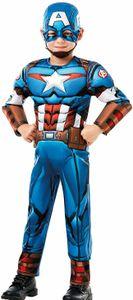 Captain America Kostüm | Größe: M (110-116) | 2-teilig: Overall mit Muskeln aus Schaumstoff & Maske mit Kinngurt | Kinder