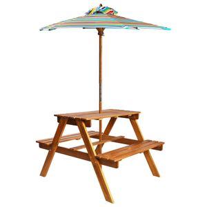 vidaXL Kinder-Picknicktisch Sonnenschirm 79x90x60cm Massivholz Akazie