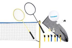 Scatch Volleyball- und Badminton-Set, Federballnetz mit Schlägern und Ball, Freistehende Netzgarnitur, 310 x 168 cm