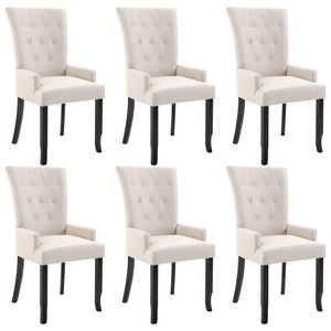 vidaXL Esszimmerstühle mit Armlehnen 6 Stk. Beige Stoff