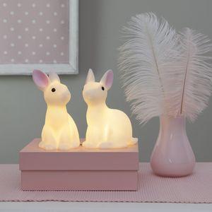 LED Dekoleuchte Bunny - 2 weiße Häschen mit warmweißen LED - H: 15cm - Batterie - 2er Set