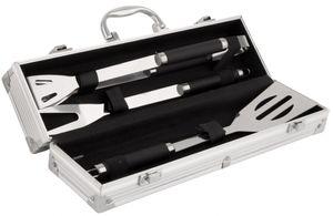 Grillbesteck Set im Koffer 3-teilig mit Grillwender, Grillzange   Grillgabel