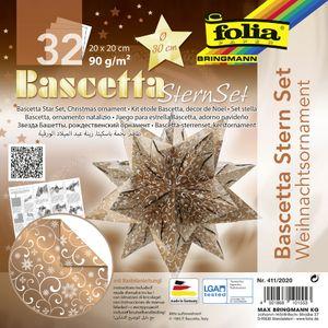 """folia Faltblätter Bascetta-Stern """"Ornament 2"""" 200 x 200 mm 32 Blatt kupfer weiß"""