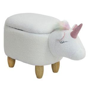 SVITA ANIMAL STORAGE Kinderhocker Tierhocker mit Stauraum gepolsterter Hocker mit Holzbeinen Weiß Regenbogen Tier-Motiv Einhorn