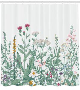 Abakuhaus Blumen Duschvorhang, Kuh-Petersilie-Musk-Malve, mit 12 Ringe Set Wasserdicht Stielvoll Modern Farbfest und Schimmel Resistent, 175x200 cm, Mehrfarbig