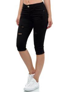 Damen Kurze Capri Jeans Shorts leichte Bermuda Sommer Design Hose , Farben:Schwarz, Größe:38