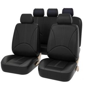 Luxus Kunstleder Auto-Sitzbezüge Set Universal - Schwarz Auto-Schonbezüge für die Vordersitze & Rückbank mit Airbag - Kunsleder Autositz Schutzbezug Komplett-Set, 9-teilig