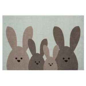 Design Fußmatte Schmutzfangmatte Bunny Family Mint Grün Braun Oster-Deko 40x60 cm