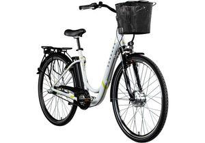 Zündapp Z510 700c E-Bike E Cityrad Damenrad Pedelec Elektrofahrrad Damen Fahrrad 28 Zoll, Farbe:weiß/grün, Rahmengröße:48 cm