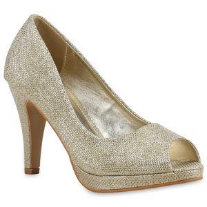 Mytrendshoe Damen Pumps Glitzer Plateau Peeptoes Party Schuhe High Heels 814201, Farbe: Gold, Größe: 40