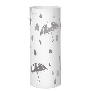 SONGMICS Ø 19,5 x 49 cm Metall Schirmständer 2 Haken Regenschirm Wasserauffangschale weiß werden verschenkt rund LUC23W