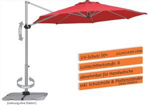 Schneider Sonnenschirm SAMOS 300/8 rot, ohne Platten, inkl. Plattenständer 690-06