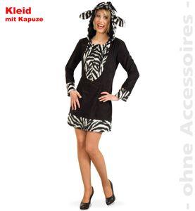 Damen Kostüm Zebra Kleid mit Kapuze Karneval Fasching Gr.42